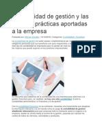 Contabilidad de gestión y las mejoras prácticas aportadas a la empresa