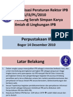 Sosialisasi Peraturan Rektor Nomor 6 Tahun 2010 Ttg Serah Simpan Karya Ilmiah