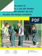 Orientaciones acerca del uso del tiempo escolar