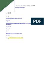 Escribe la ecuación de la línea que pasa por los puntos