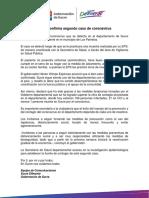 Nota de prensa sobre el segundo caso de COVID-19 en Sucre-08/05/2020