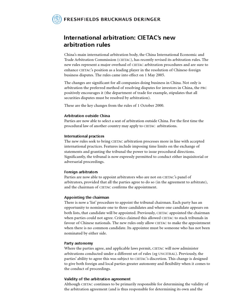 Fresh Field Article On New Cietac Arbitration Rules Arbitration