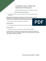 CUESTIONARIO DEL VÍDEO DE ENERGÍA POTENCIAL