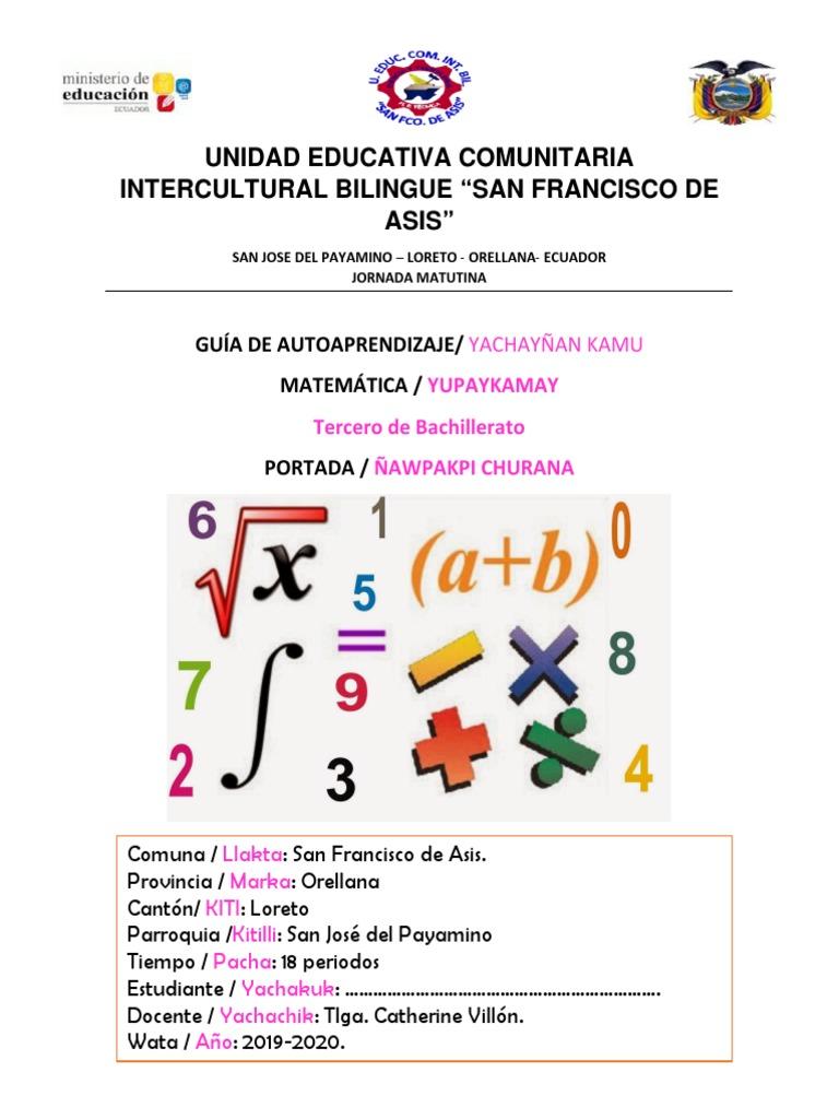 Unidad Educativa Comunitaria Intercultural Bilingue San Francisco De Asis Ecuaciones Objetos Matemáticos