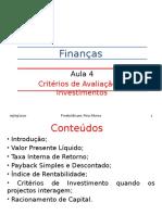 Aula 4 - Critérios de Avaliação de Investimentos-1