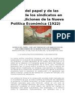 Acerca Del Papel y de Las Tareas de Los Sindicatos en Las Condiciones de La Nueva Política Económica