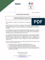 Communiqué Pref de Police Paris - 8/05/20