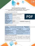 Guía de actividades y rúbrica de evaluación - Paso 4 - Elaborar estado financiero y manual de politicas contables