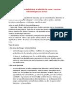Diagnostico o estadística de producción de carne y recursos hidrobiológicos en el Perù