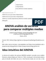 ANOVA análisis de varianza para comparar múltiples medias