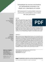 Autoavaliação dos recursos comunicativos por representantes comerciais e sua relação com o desempenho em vendas