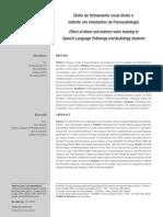 Efeito de treinamento vocal direto e indireto em estudantes de Fonoaudiologia