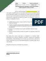 INP-PT-04 POLÍTICA DE SEGURIDAD Y SALUD EN EL TRABAJO