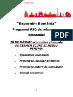 Programul PSD de relansare a economiei
