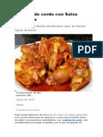 Manitas de cerdo con Salsa Asturiana