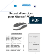Formation Word Recueil d'exercices pour Microsoft Word