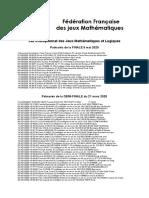 34e Championnat Des Jeux Mathématiques Et Logiques - TJFM 2020 - Fédération Française Des Jeux Mathématiques