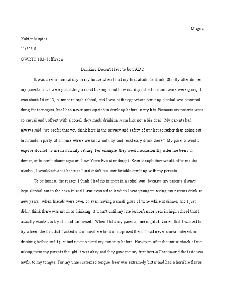 Drinking Alcohol Essay - Words | Bartleby