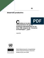 """""""Cambios en la estructura y comportamiento del aparato productivo latinoamericano en los años 1990"""