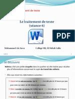 Unité II-S2-6 Le traitement de texte- création d'un tableau