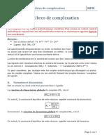 Reactions de complexation