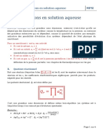 Reactions en solution aqueuse
