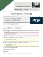 Raíces de una ecuación  parte (I)