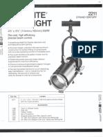 Strand Century Lighting 2211 4.5x6.5-Inch Lekolite Ellipsoidal Spotlight Spec Sheet 6-77