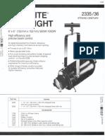 Strand Century Lighting 2335-2336 6x6-Inch Lekolite Ellipsoidal Spotlight Spec Sheet 6-77