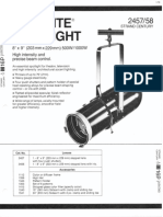 Strand Century Lighting 2457-2458 8x9-Inch Lekolite Ellipsoidal Spotlight Spec Sheet 6-77