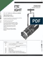 Strand Century Lighting 2569-2560 10x12-Inch Lekolite Ellipsoidal Spotlight Spec Sheet 6-77