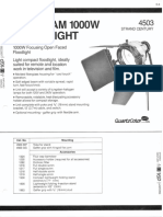 Strand Century Lighting 4503 Ianebeam 1000w Floodlight Spec Sheet 6-77