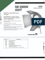 Strand Century Lighting 4505 Ianebeam 2000w Floodlight Spec Sheet 6-77