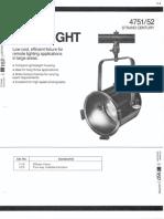 Strand Century Lighting 4751-4752 PAR 64 Spotlight Spec Sheet 6-77