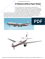 Boeing 777-200 Malaysia Airlines Paper Model Instructions