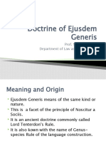 Doctrine of Ejusdem Generis