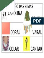 JOGO DAS RIMAS O COLAR DE CAROLINA