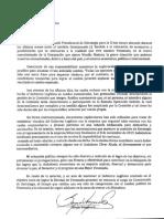 Carta de renuncia del diputado Sergio Vergara a su cargo en el Gobierno Legítimo