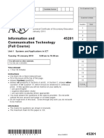 GCSE ICT Full Course Question paper Unit 01 - Systems and Applications in ICT January 2013