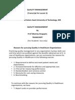 Transcript for Lesson 3 Quality Management