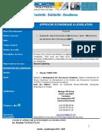 COURS D'APPROCHE ECONOMIQUE & LEGISLATION