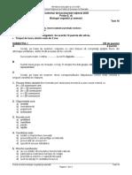 Testul 16 biologie BAC 2020