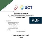 LA SEPARACIÓN DE CUERPOS, SEPARACIÓN CONVENCIONAL ENVIAR PLAT.