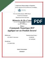 Commande Numérique RST Appliqué sur un Pendule Inversé.