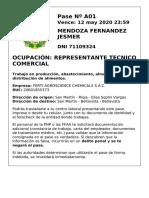 Modelo de Pase Laboral