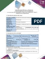 5. Guía de actividades y rúbrica de evaluación - Paso 5 - Informe de la experiencia