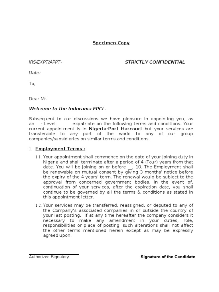 Appointment Letter Format For Phc Employee Benefits Salary