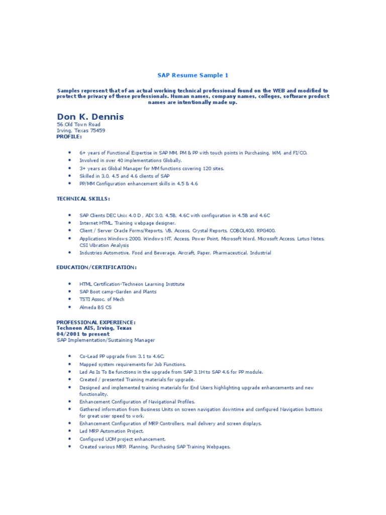 SAP Resume Sample | Sap Se | Business Process
