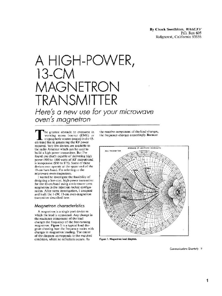 High Power 13cm Magnetron Transmitter