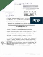 Proyecto de Ley 05154/2020-CR, Ley que declara de necesidad pública y de interés nacional el Proyecto de Inversión Represa La Polvareda en Pisco - Ica